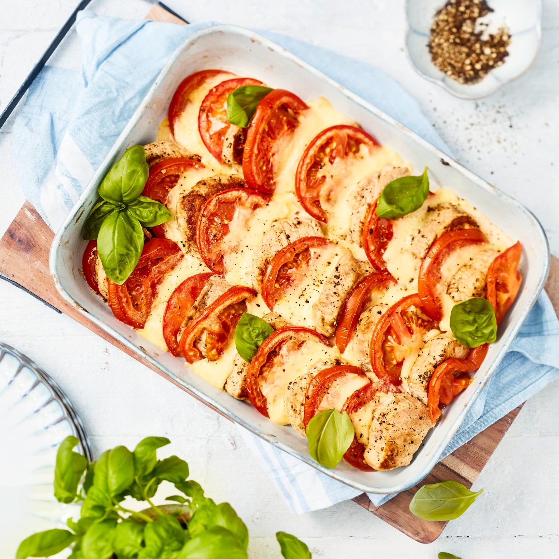 Überbackenes Schweinefilet mit Tomate-Mozzarella