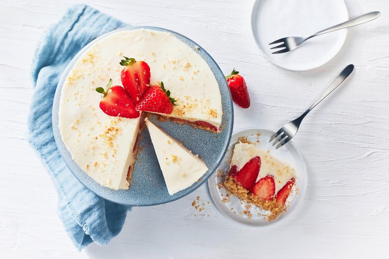 Erdbeer-Kokos-Cheesecake ohne Backen