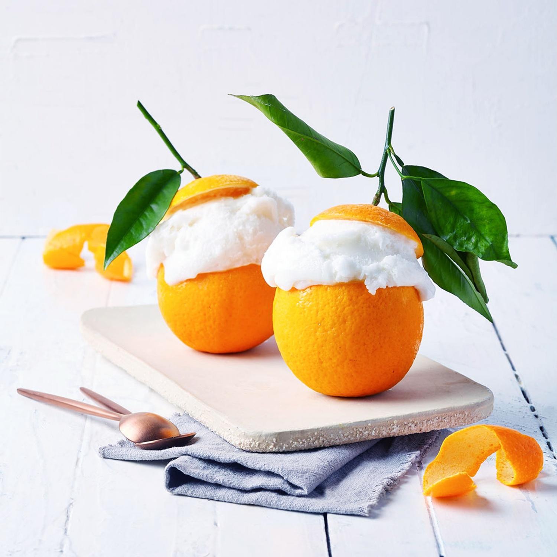 Orangenparfait mit Sahne
