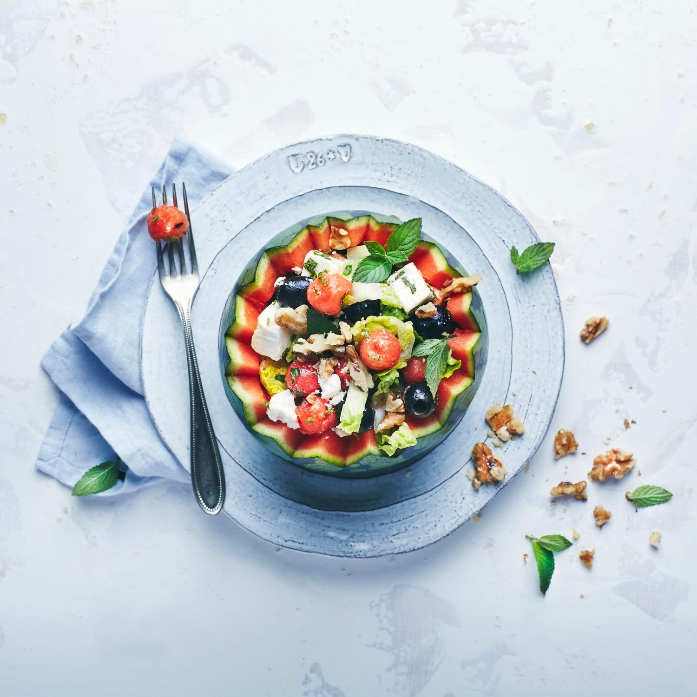 Salat von Melone, Schafskäse und Oliven