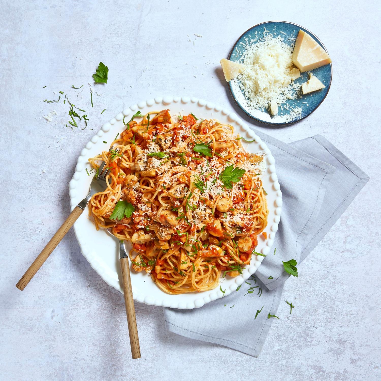 Spaghetti mit Champignon-Bolognese