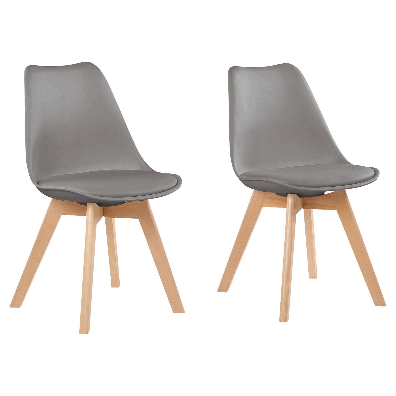 LIVING STYLE Design-Stühle, 2 Stück, Grau*