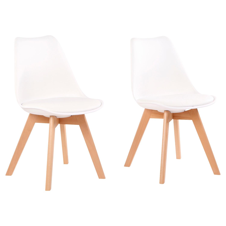 LIVING STYLE Design-Stühle, 2 Stück, Weiß*