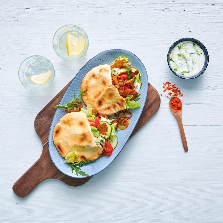 Seitan-Gyros im Pita-Brot
