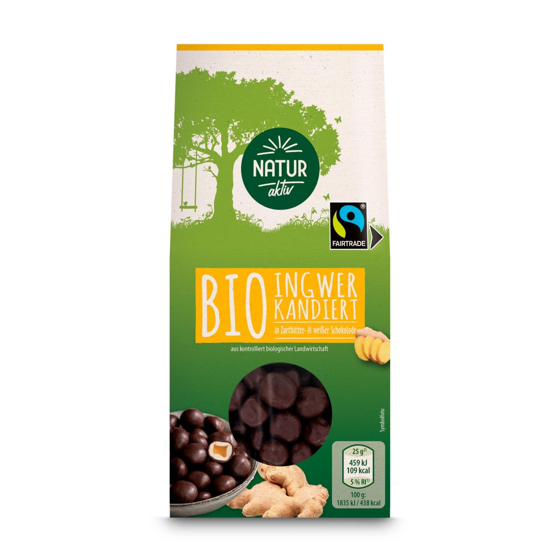 NATUR AKTIV BIO-Nuss-/Frucht-Sortiment, Ingwer in weißer Schokolade und Zartbitterschokolade