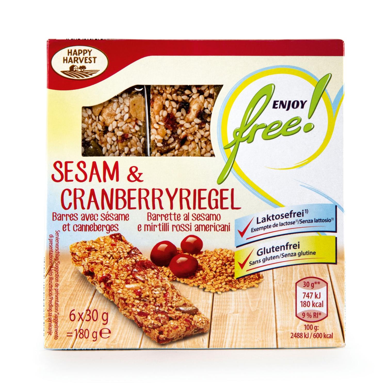 ENJOY FREE! Riegel glutenfrei, Sesam-Cranberry