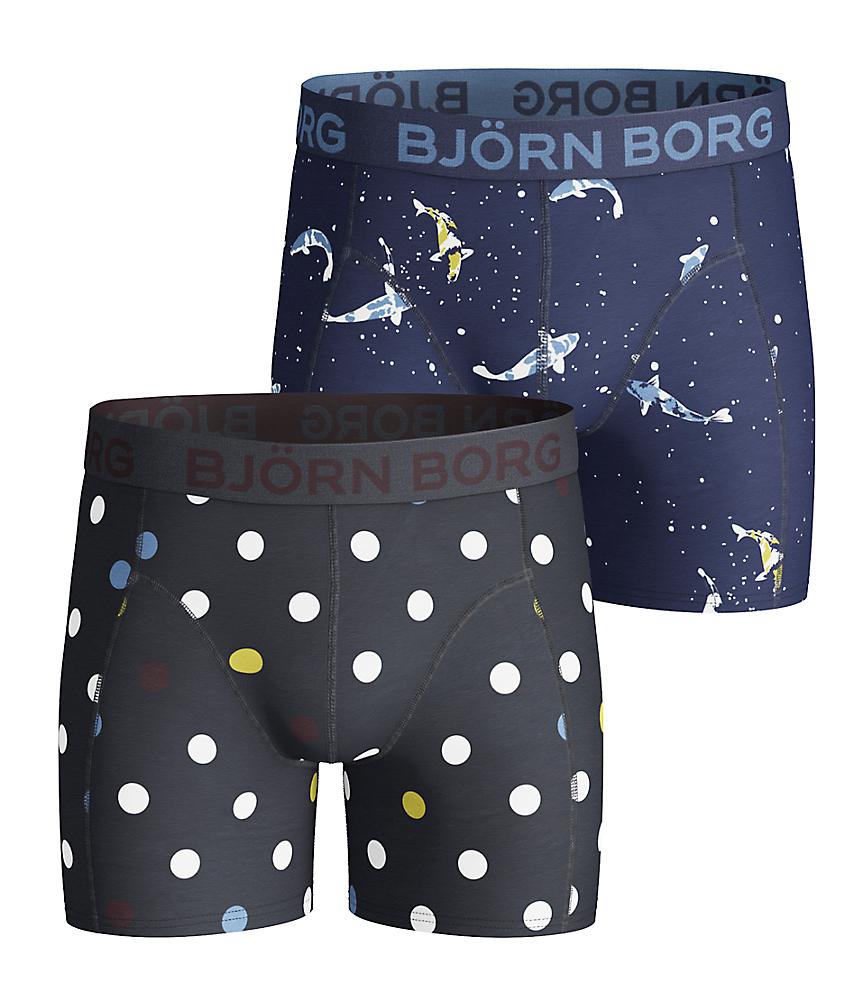 BB Contrast Dot & BB Koi Boys Shorts Navy 2-pack