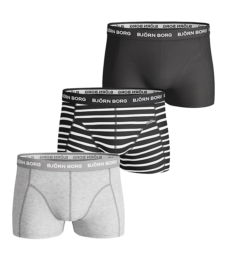 BB Stripe Basic Short Shorts Black 3-pack