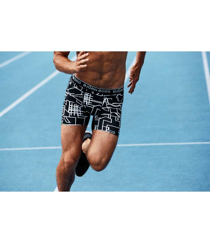 Björn Borg | Björn Borg MULTI COLLAGE OUTLINE Performance Pro SHORTS BLACK
