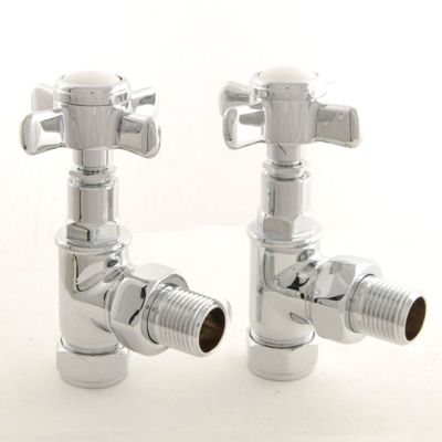 Towelrads Cross Head Angled Manual Valves with Lockshield Chrome 1/2