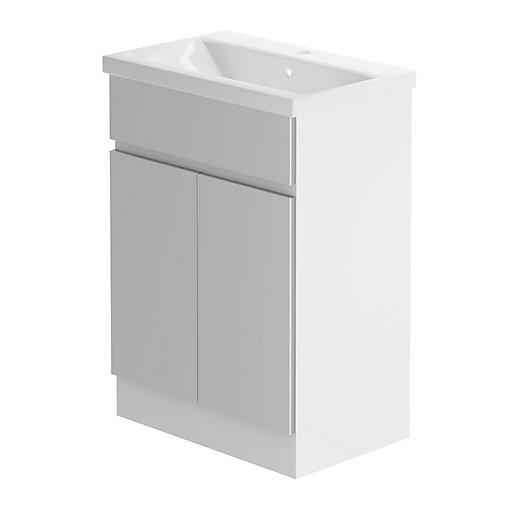 cool grey white bathroom vanity | Be Modern Zest 600 Floorstanding Vanity Unit/White Gloss ...