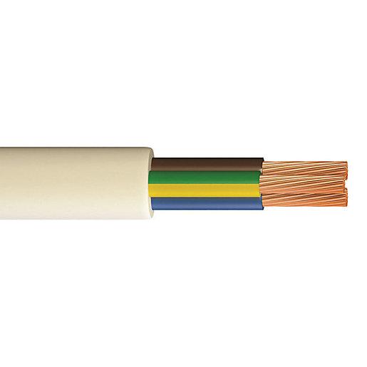 WHITE FLEXIBLE FLEX CABLE WIRE HEAT RESISTANT 3093Y 0.75MM 3 CORE