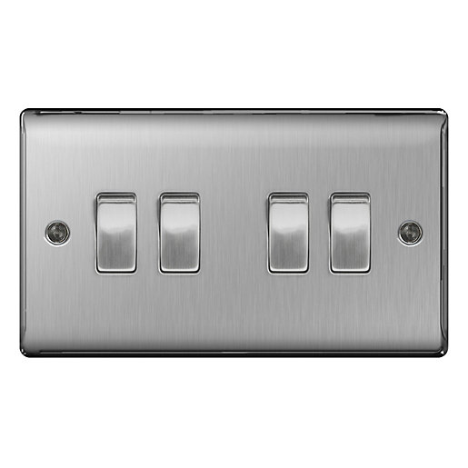 Bg Brushed Steel 4 Gang 2 Way Light Switch