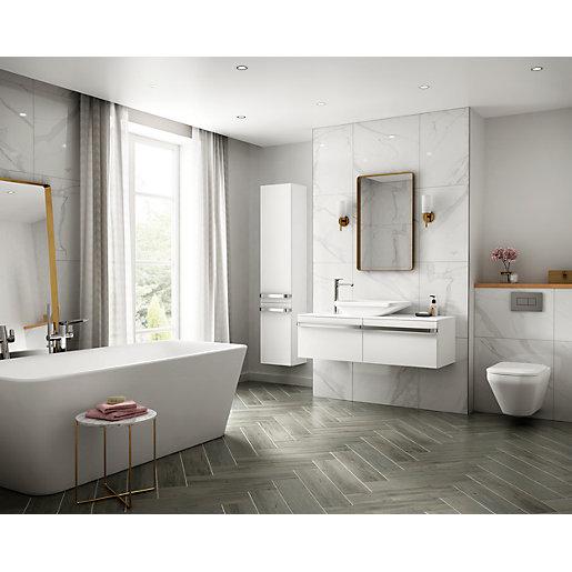 Rockingham Grey Oak Matt Wall & Floor Tile 600 x 150 mm (Pack Of 12)
