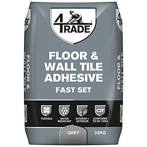 4TRADE Fast Set Grey Floor & Wall Tile Adhesive 20kg