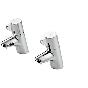 Armitage Shanks Piccolo 21 Inclined ½in Washbasin Pillar Taps, Lever Operated, Dual Hot and Cold Indices, Anti-vandal Water Saving Nozzle. B8262AA