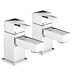 Bristan Quadrato Basin Pillar Taps Chrome
