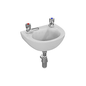 Armitage Shanks Sandringham 21 handrinse washbasin 35cm, 2 taphole, no overflow no chainstay hole White S815001