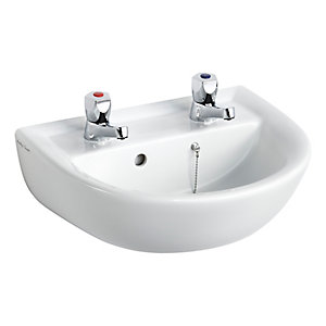 Armitage Shanks Sandringham 21 handrinse washbasin 45cm, 2 tapholes, with overflow and chainstay hole White E893601