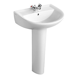 Armitage Shanks Sandringham 21 washbasin 55cm, 1 taphole, with overflow no chainstay hole White E894901