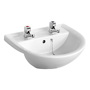 Ideal Standard Sandringham 21 Semi Countertop Basin 2 Tap Holes 500 x 440 mm E895901