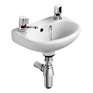 Ideal Standard Studio 35cm washbasin, 2 corner tapholes with overflow and chainstay hole White E117001