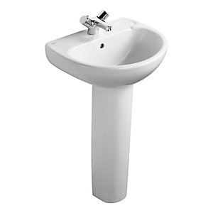 Ideal Standard Studio 50cm washbasin, 1 taphole with overflow White E112001