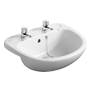 Ideal Standard Studio 56cm semi-countertop washbasin, 2 tapholes with overflow and chainstay hole White E178001