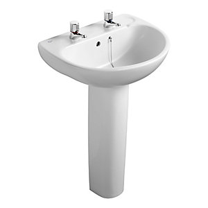 Ideal Standard Studio 56cm washbasin, 2 tapholes with overflow and chainstay hole White E109001