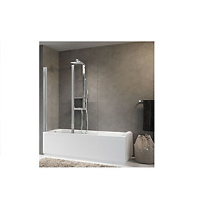 Novellini Aurora 2 Hinged Clear Glass Bath Screen/Shower Panel 1500mm x 1200mm AURORAN2-1K