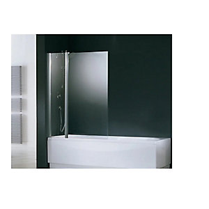 Novellini Aurora 3 Hinged Clear Glass Bath Screen/Shower Panel 1500mm x 980mm AURORAN3-1K