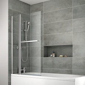 iflo Edessa Double Folding Bath Screen with Towel Rail 1400 x 910 mm