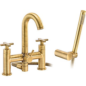 Abode Serenitie Deck Mounted Bath Shower Mixer with Shower Handset - Antique Brass
