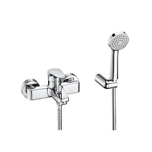 Roca Atlas Wall-mounted Bath-shower Mixer Tap with Handset, Hose and Bracket