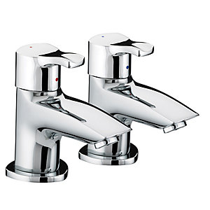 Bristan Capri Bath Pillar Taps Chrome