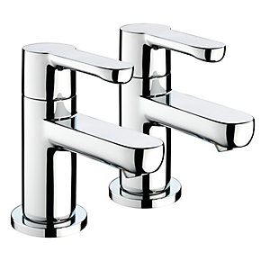 Bristan Nero 3/4 Bath Pillar Taps (Pair) Chrome