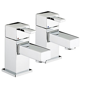 Bristan Quadrato Bath Pillar Taps Chrome
