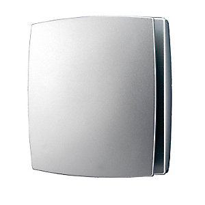 HIB Breeze Timer / Humidistat Fan Matt Silver 152 x 152 x 126 mm 31400