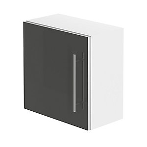 Be Modern Atlanta Modular Wall Unit White Gloss/Graphite Lucido 400 x 400 x 225 mm WU40WHGGLU