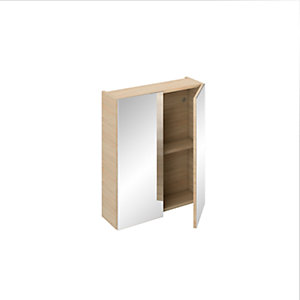 iflo Aliano Wall Unit Oak Including 2 Mirrored Doors 600 x 190 mm