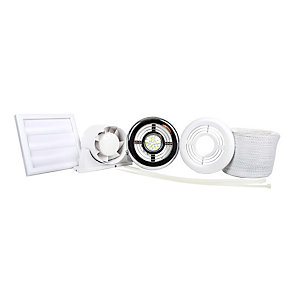 Airflow Aura 100mm Inline Shower Fan Kit with Timer and LED Light