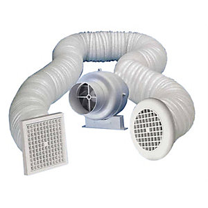 Manrose 100mm Centrifugal Inline Timer Fan with Flexible Ducting and Grilles - SCF200T
