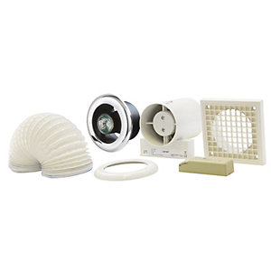 Manrose VSL100TC Inline Axial Showerlite Fan Kit with Timer