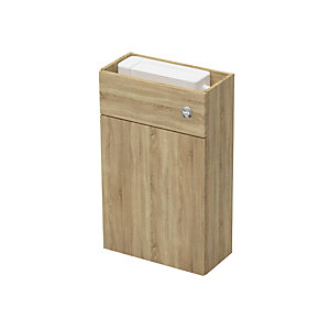 Slim 500mm WC Fitted Unit Including Cistern - Nat Oak
