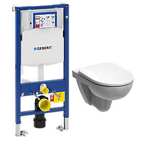 Geberit Duofix 1.12m WC Cistern Wall Frame & Twyford E100 Rimless Wall Hung Toilet Pan & Flush Plate & Seat