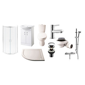 Toilet Vanity Basin and Enclosure Suite