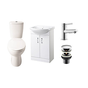 Toilet and Vanity Unit Basin Cloakroom Suite