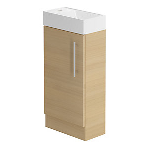 Be Modern 400mm Floorstanding Hand Basin Unit Light Oak