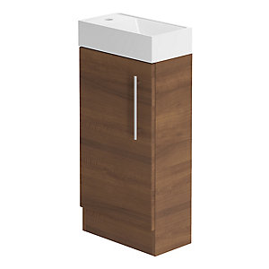Be Modern 400mm Floorstanding Hand Basin Unit Walnut
