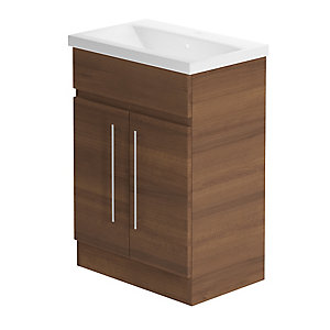 Be Modern 600mm Zest Floor Standing Vanity Unit Walnut